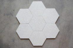 Hexágono de piezas porcelánicas hexagonales Veneciano Blanco