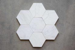 Hexágono de piezas porcelánicas hexagonales Verona Blanco